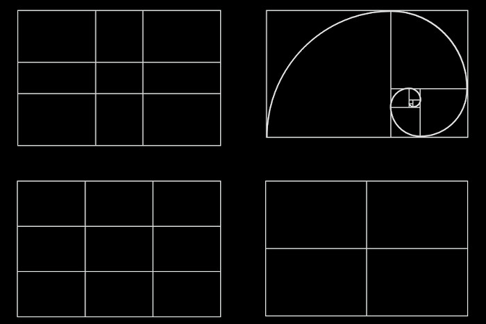 rule-of-thirds golden ratio fibonacci spiral grid examples